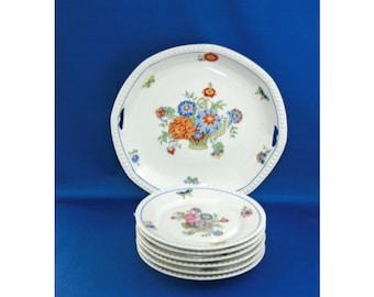 Vintage RARE 7 Piece Dessert Plate Service Set , Zwickau Porcelain Factory ZPF, Blue Floral Octagon Plates & Platter Made in Saxony Germany