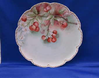 Antique Haviland Cabinet Plate Hand Painted Cherry Tree Sprig Display Plate Made in France Vintage