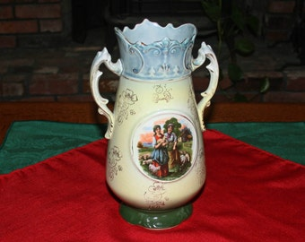Antique Vase A G Harley Jones Royal Vienna H J England  Porcelain Decorative 2-Handled Flower Vase Hand Painted Art Pottery