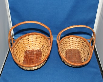 Vintage Wicker Basket Set of Two - Hand Crafted Woven Wood Wicker Baskets Egg Basket Easter Baskets Home Decor Arts and Crafts