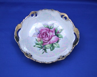 Vintage Grantcrest Pierced Rose Candy Dish Made in Japan Fine China Grant Crest Roses Shallow Bowl Transferware Display Plate