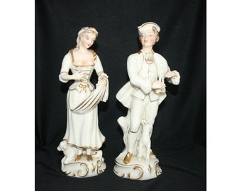 Antique Porcelain Figures 18th Century Colonial Man and Woman Figurine Pair of Hand Decorated Victorian Figurines Knick Knack Figure