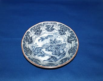 Vintage Satsuma MOKUSEN Japanese Blue and White Bowl Hand Accented Transferware Dish, rice bowl Oriental Asian Porcelain sei-yo sho-yo