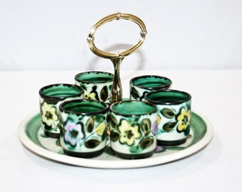 RARE Vintage Boch In the Mood Tray with 6 Cups Ceramic Serving Shot Glass Made in Belgium 1968 Glasses Villeroy and Boch Barware Bar