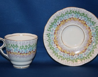 Vintage Royal Stafford Blue Glendale Teacup & Saucer Espresso Cup Demitasse Tea Cup Made in England Bone China English Tea Party