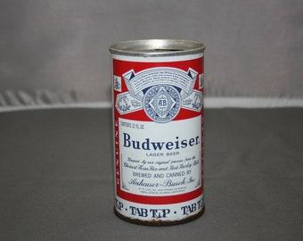 Vintage Budweiser Larger Beer Steel Beer Can Tab Top Opened & Empty Collectible Bar Memorabilia Barware Advertisement Breweriana 12 Fl Oz