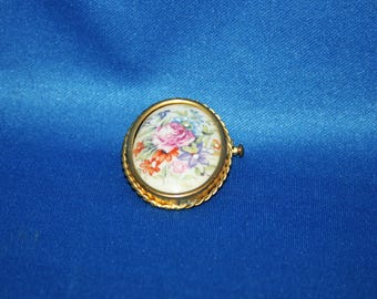 Antique Victorian Porcelain Brooch Limoges Hand Painted Floral Bouquet Made in France suit pin Jewelry