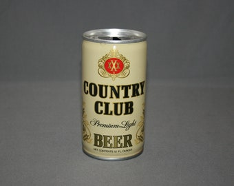 Vintage Country Club Premium Light Beer Steel Can Pull Tab Opened & Empty Collectible Bar Memorabilia Barware Advertisement Breweriana