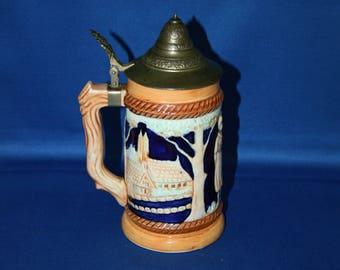 Vintage Porcelain German Beer Stein Pewter Lid Bar Collectible Hand Painted Breweriana  Memorabilia Barware Souvenir Ale Tankard