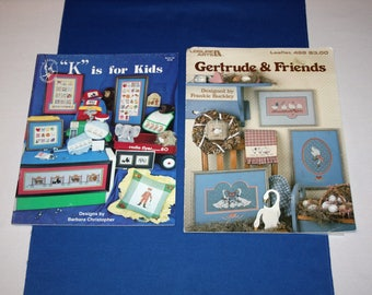 Cross Stitch Patterns Leisure Arts Gertrude & Friends Pegasus Publications K is for Kids Craft  Pattern Leaflet Booklet Needlepoint Projects