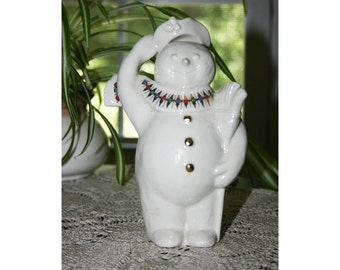 Vintage LENOX China Jolly Snowman Jewels of Christmas Snow People Thailand circa 1995 Porcelain Holiday Snowman Figurine Figure Collectible