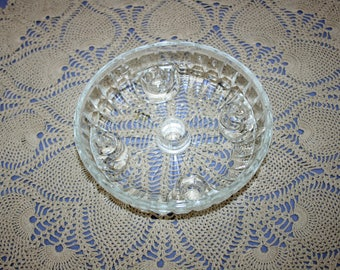 Vintage L.E. Smith Glass Crystal 5 Taper Candlestick Centerpiece Dish Multi Candle Holder Candlesticks Glass Candle Holders
