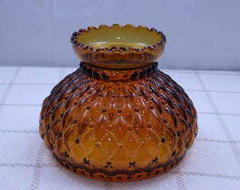 Antique Fenton 7 Inch Oil Lamp Shade Dark Amber Glass Diamond Quilted replacement globe kerosene lampshade quilt pattern light cover Vintage