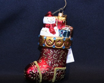 Hallmark Heritage Collection Red Christmas Stocking Ornament Blown Glass Hand Painted Made in Poland Holiday