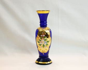 Vintage Lefton Cobalt Blue Bud Vase Gold Gilding Enamel Flowers Hand Blown Hand Painted Bohemian Czech Art Glass Flower Vase Moriage Japan