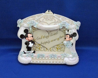 Vintage RARE Mickey and Minnie Mouse Wedding Picture Frame Bride and Groom Picture Display Theme Park Exclusive Disneyland Walt Disney World