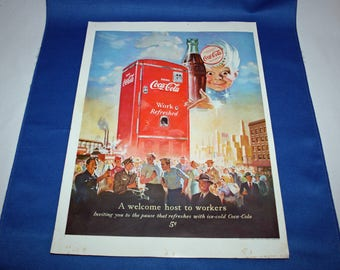 Coca Cola 1952 Magazine Advertisement A Welcome Host to Workers with Sprite Boy, a Coke and a Red Coke Vending Machine Ephemera Memorabilia