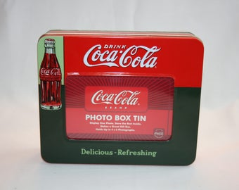 Vintage Coca-Cola Photo Box Tin Coke Bottle Collector's Tin - Coca Cola Collectible Coke Memorabilia Ephemera Storage Box Tin