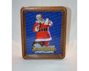 Vintage Coca-Cola Frame Christmas Santa Tin Collector's Tin - Coca Cola Collectible Coke Memorabilia Ephemera Storage Box Tin