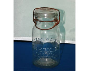 Vintage Putnam Lightning 19 Jar - Quart Mason Jar - Henry W. Putnam 1880's Trade Mark Registered Lightning Jar Collectible Glass Canning Jar