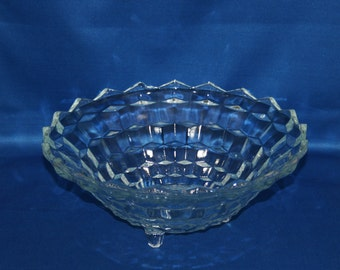 Vintage Indiana Glass  Bowl Tri-Footed Whitehall Colony Salad Serving Bowl 1960's Candy Bowl Trinket Dish