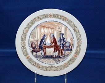 Vintage D'Arceau Limoges Collector Plate - En Presence De Silas Deane Agent Americain #994 kpp 1973 Cabinet Plate Dinner Plate