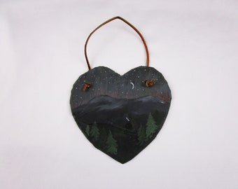 Vintage Natural Slate Art - Hand Painted Heart of Mountain and Cottage Setting Painting Stone Artwork Wall Art