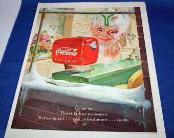 Vintage Coca Cola 1949 Magazine Advertisement Thirst Knows No Season with Sprite Boy and a Red Counter Dispensing Machine  ephemera
