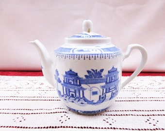 Vintage Oriental Teapot Blue and White Chinese Porcelain Tea Pot made in China Hand Painted Accents