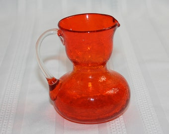Vintage Orange Crackle Glass Miniature Pitcher with Clear Handle Knick Knack Collectible Art Glass Blenko Glass Pilgrim Glass Cambridge