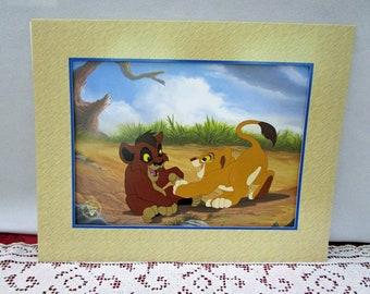 Vintage Disney Lion King II Simba's Pride Commemorative Lithograph, Disney Store Exclusive Collectible Simba Kiara