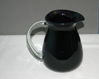 Vintage Dark Purple Pitcher  Amethyst Clear Handle Hand Blown Deep Purple Ewer Water Lemonade Milk Pitcher