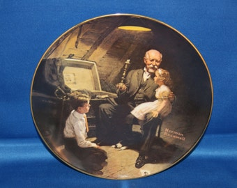 Vintage Edwin M Knowles Norman Rockwell Heritage Collectors Plate – Grandpa's Treasure Chest 1983 Cabinet Plate Collector Plate