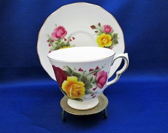 Vintage Queen Anne Bone China Tea Cup and Saucer Yellow and Red Roses Pattern 8519 C174 Ridgway Potteries, Made in England English Tea Party