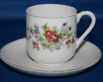 Vintage Occupied Japan Teacup & Saucer Demitasse Tea Cup 1945 - 1952 Hand Painted Japanese Tea Garden Party Collectible