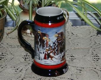 Vintage Budweiser Beer Stein Tankard A Perfect Christmas from 1992 Brazil Anheuser Busch Holiday Stoneware Mug Barware Bar Breweriana