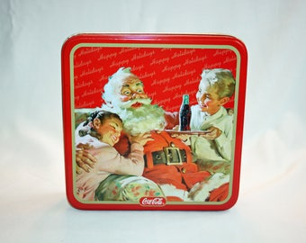Vintage Coca-Cola Christmas Santa Tin Collector's Tin - Coca Cola Collectible Coke Memorabilia Ephemera Storage Box Tin