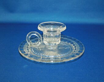 Antique Chamber Candlestick Holder, Clear EAPG Early American Pressed Glass, Pattern Glass, Candlesticks