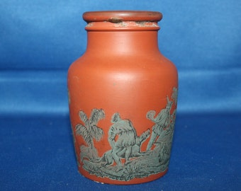RARE Antique Meat Jar The Boar Hunt Transfer Clay Meat Paste Jar Terracotta Prattware Container 1800's Knick Knack Kitchen Decor Collectible