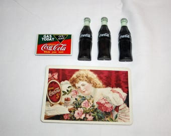 Vintage Coca-Cola Coke Bottle, Post Card & Gas Today Magnetic Memo Holder Coca Cola Magnet Refrigerator Magnet 1994 Memorabilia Ephemera