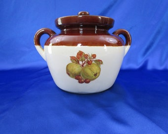 Vintage McCoy 2 Quart Stoneware Bean Pot with Original Lid Autumn Harvest Pattern USA #341 Earthenware Baking Pot 1950's Boston Baked Beans