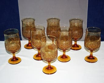 Vintage Libbey Glass Co Americana Amber Water Glass 10 oz Goblet or Wine Glass retro glasses Sandwich Style Decal Band set of 8