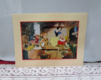 Vintage 1994 Disney Snow White Commemorative Lithograph, Disney Store Exclusive, Printed in the USA Collectible Seven Dwarfs Doc Dopey