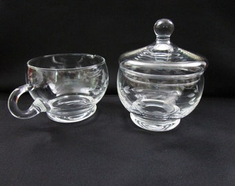 Vintage Princess House Crystal Creamer and Lidded Sugar Bowl Set Heritage Pattern Stackable Hand Blown Hand Cut Item 417