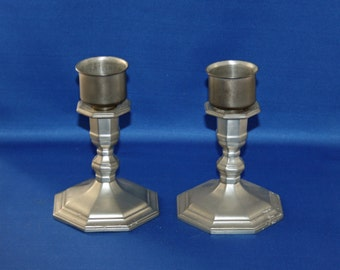 Vintage 6-1/2 inch Gorham Pewter Candlestick PH29 Set of 2 Candlesticks with Insert Cups Candle Holders Pewter Candle Holder