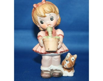 Vintage Precious Moments Style Girl & Scotty Dog Figurine Holding a Flower Pot with a Worm Ceramic Figure Collectible Knick Knack