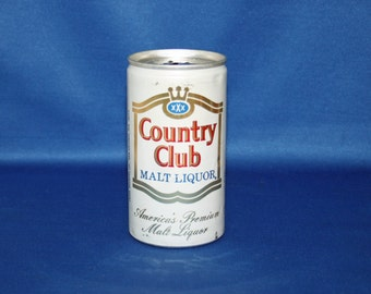 Vintage Country Club Malt Liquor Beer Can Pull Tab Aluminum Pearl Brewing Co Breweriana Bar Memorabilia Barware Collectible Advertisement