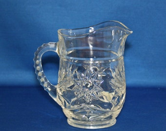 Vintage Anchor Hocking Prescut Pitcher EAPC Pressed Glass Syrup Pitcher Star of David Pattern circa 1960 Tableware Milk Table Pitcher