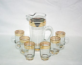 UNIQUE Vintage Hand Blown 4 Gold Band Beverage Set Cocktail Pitcher and 6 Handled Cups - Martini Pitcher, espresso style cup Lemonade Set