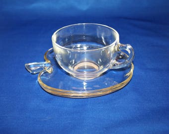 Vintage Hazel Atlas Glass Teacup and Apple Shaped Saucer the Orchard Pattern circa 1950 Teacher Gift Tea Cup Plate Tea Party